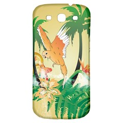 Funny Budgies With Palm And Flower Samsung Galaxy S3 S III Classic Hardshell Back Case