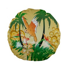 Funny Budgies With Palm And Flower Standard 15  Premium Round Cushions