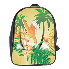 Funny Budgies With Palm And Flower School Bags (XL)