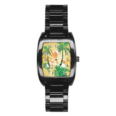 Funny Budgies With Palm And Flower Stainless Steel Barrel Watch