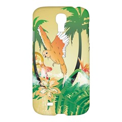 Funny Budgies With Palm And Flower Samsung Galaxy S4 I9500/I9505 Hardshell Case