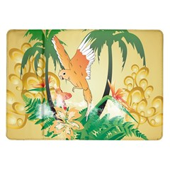Funny Budgies With Palm And Flower Samsung Galaxy Tab 10.1  P7500 Flip Case