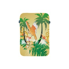 Funny Budgies With Palm And Flower Apple iPad Mini Protective Soft Cases