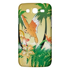 Funny Budgies With Palm And Flower Samsung Galaxy Mega 5.8 I9152 Hardshell Case