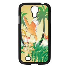 Funny Budgies With Palm And Flower Samsung Galaxy S4 I9500/ I9505 Case (Black)