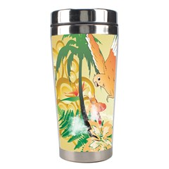 Funny Budgies With Palm And Flower Stainless Steel Travel Tumblers