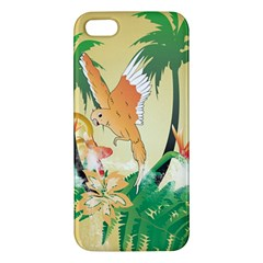 Funny Budgies With Palm And Flower iPhone 5S Premium Hardshell Case