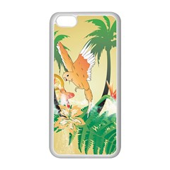 Funny Budgies With Palm And Flower Apple iPhone 5C Seamless Case (White)