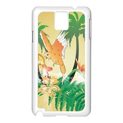 Funny Budgies With Palm And Flower Samsung Galaxy Note 3 N9005 Case (White)