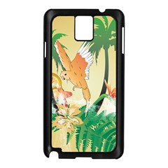Funny Budgies With Palm And Flower Samsung Galaxy Note 3 N9005 Case (Black)