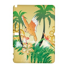 Funny Budgies With Palm And Flower Samsung Galaxy Note 10.1 (P600) Hardshell Case