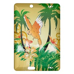 Funny Budgies With Palm And Flower Kindle Fire HD (2013) Hardshell Case