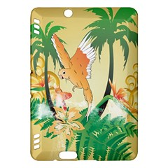 Funny Budgies With Palm And Flower Kindle Fire HDX Hardshell Case