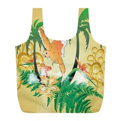 Funny Budgies With Palm And Flower Full Print Recycle Bags (L)