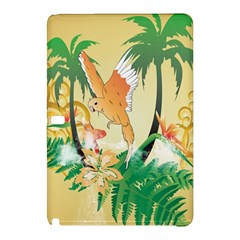 Funny Budgies With Palm And Flower Samsung Galaxy Tab Pro 10.1 Hardshell Case