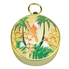 Funny Budgies With Palm And Flower Gold Compasses