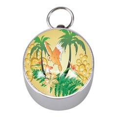 Funny Budgies With Palm And Flower Mini Silver Compasses