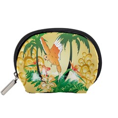 Funny Budgies With Palm And Flower Accessory Pouches (small)
