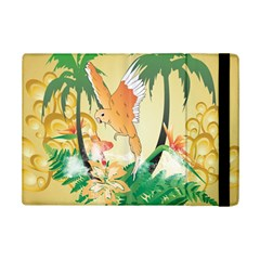 Funny Budgies With Palm And Flower iPad Mini 2 Flip Cases