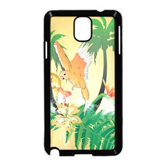 Funny Budgies With Palm And Flower Samsung Galaxy Note 3 Neo Hardshell Case (Black)