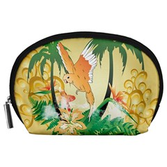 Funny Budgies With Palm And Flower Accessory Pouches (large)
