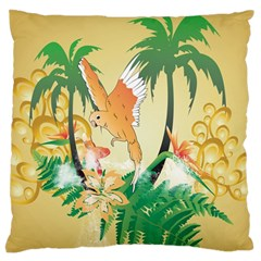 Funny Budgies With Palm And Flower Large Flano Cushion Cases (Two Sides)