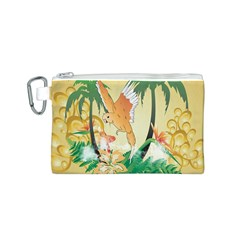 Funny Budgies With Palm And Flower Canvas Cosmetic Bag (S)