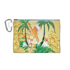 Funny Budgies With Palm And Flower Canvas Cosmetic Bag (M)