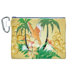Funny Budgies With Palm And Flower Canvas Cosmetic Bag (xl)