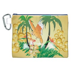 Funny Budgies With Palm And Flower Canvas Cosmetic Bag (XXL)