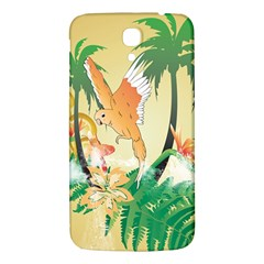 Funny Budgies With Palm And Flower Samsung Galaxy Mega I9200 Hardshell Back Case