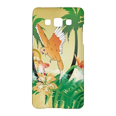 Funny Budgies With Palm And Flower Samsung Galaxy A5 Hardshell Case