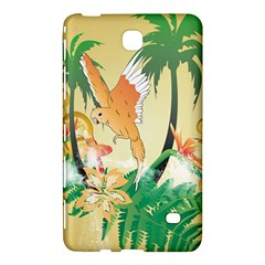 Funny Budgies With Palm And Flower Samsung Galaxy Tab 4 (8 ) Hardshell Case