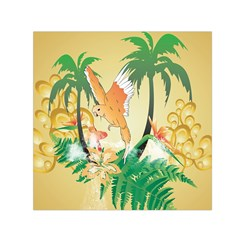 Funny Budgies With Palm And Flower Small Satin Scarf (square)