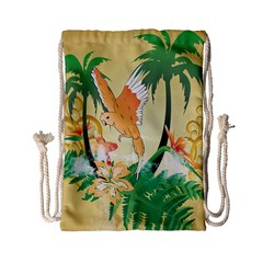 Funny Budgies With Palm And Flower Drawstring Bag (Small)