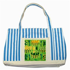 Lemons And Limes Striped Blue Tote Bag