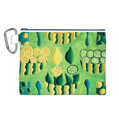 Lemons And Limes Canvas Cosmetic Bag (l)