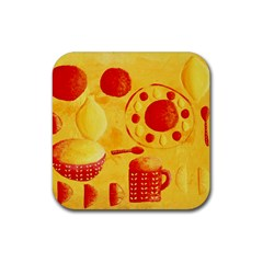 Lemons And Oranges With Bowls  Rubber Square Coaster (4 pack)