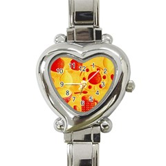 Lemons And Oranges With Bowls  Heart Italian Charm Watch
