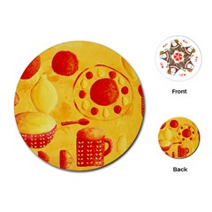 Lemons And Oranges With Bowls  Playing Cards (Round)