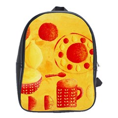 Lemons And Oranges With Bowls  School Bags(Large)