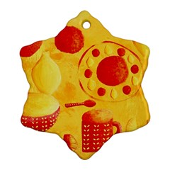 Lemons And Oranges With Bowls  Snowflake Ornament (2-Side)