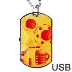 Lemons And Oranges With Bowls  Dog Tag USB Flash (One Side)