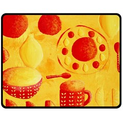 Lemons And Oranges With Bowls  Double Sided Fleece Blanket (Medium)