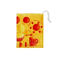 Lemons And Oranges With Bowls  Drawstring Pouches (Small)