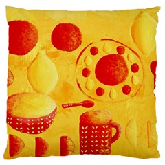 Lemons And Oranges With Bowls  Large Flano Cushion Cases (Two Sides)