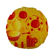 Lemons And Oranges With Bowls  Standard 15  Premium Flano Round Cushions
