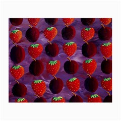 Strawberries And Plums  Small Glasses Cloth