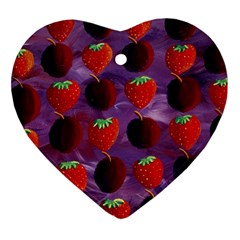 Strawberries And Plums  Heart Ornament (2 Sides)