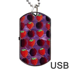 Strawberries And Plums  Dog Tag Usb Flash (one Side)